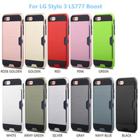 Wholesale Boost Mobile Lg Case - Brushed Textures Hard PC Soft Rubber Hybrid Mobile Phone Case Card Holder Cover For LG Stylo 3 Boost For LG Aristo LV3 Case
