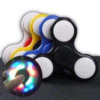 Plastic black light toys - LED Light Hand Spinner Fidget Plastic EDC Hand Spinner For Autism and ADHD Relief Focus Anxiety Stress Toys Gift
