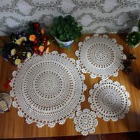 Wholesale Vintage Hand Crocheted - Wholesale- 100% Cotton Hand Made Crochet Doilies Cup Mat Pad Coaster 4 Vintage Crochet Motifs 15-45cm White Beige HD089 HD090