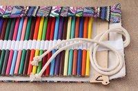 kurşun kalem eko toptan satış-Çevre Dostu Kalem Çanta 36 Delikler Taşınabilir Okul Kalem Kutusu Escolar estuche Kutusu Kırtasiye Sevimli Estojo Tuval Kalem Roll Up Perde Kalemleri