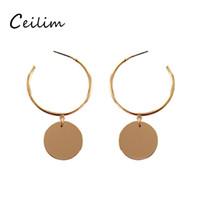 Wholesale Girls Dance Earrings Studs - New Fashion Jewelry Large Hoop Dangle Earrings With Round Pendant Charm Hip-Hop Golden Ladies Studs Street Dance Club Hoop Earrings for girl