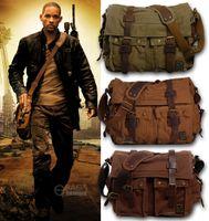 x büyük çanta toptan satış-Erkek Bağbozumu Tuval Deri Askeri X-Büyük 15 Dizüstü Omuz Messenger Çanta Crossbody Satchel Açık Okul Çantaları Taktik çanta