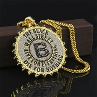 Wholesale B Letter Pendant - Hip Hop Big Pendant Engraved Wall Street Jewelry Popular Round B Letter Pendant Necklace Gold Silver Plated Bling Rhinestone Men