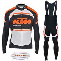 pantalones largos jersey mtb al por mayor-2017 KTM Team Winter Thermal Fleece Men Ciclismo Jersey Set mangas largas Ciclismo Ropa deportiva MTB Bike Ropa Bib Pantalones largos K2101