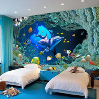 murales de pared bajo el agua para al por mayor-Fondo de pantalla personalizado Mural Wallpaper Underwater World 3D para el sofá de la sala de estar TV de fondo mural de la pared papel de pared