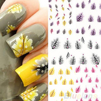 Wholesale Browning Nail Stickers - Wholesale-1 Sheet Feather 3D Nail Art Water Decal Sticker Fashion Tips Decoration New BA4A