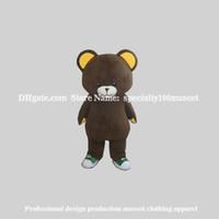 mascotes de urso adulto venda por atacado-Urso marrom mascote traje adulto tamanho carnaval frete grátis, festa animal adorável urso mascote fantasia direto da fábrica, pode personalizar o Logotipo