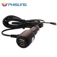 Wholesale Usb Charger 5v 5a - Wholesale- DC12V 24V To 5V 5A Dual USB Car Charger Adapter For Smart Phone GPS Car DVR Vehicle Charging with 3.5 meter cable Mini USB port