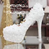 Wholesale Cheap White Platform Sandals - Cheap Daisy 3D-Floral Appliques Lace Wedding Shoes Sandals Pearls High Heel White 3 CM Platform Women Pumps Bridal Accessories Gowns