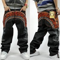 Mens Hip Hop Baggy Jeans Für Street Dancing Skateboard Loose Fit Hochwertige Stickerei Denim Jeans Plus Size