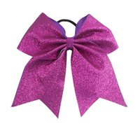Wholesale Big Glitter Bows - Big Glitter Cheer Bow For Cheerleader Girl Plain Bling Cheerleading Bows For School Children Kids Boutique Cheer Hair Bow