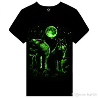 Wholesale Men S Luminous Shirt - Summer brand clothing Novelty Mens tshirt homme 3D Glow in the Dark Luminous t shirt Men Wolf Printed Short Sleeve tee free shipping