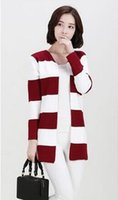 Wholesale Cheapest Knitted Dress - Cheapest Sweater Fashionable Knitting Stripe Cardigan Backing Dress RedDH16111703-3