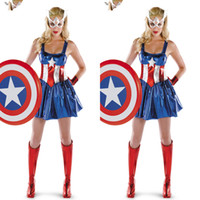 Wholesale Teddy Halloween Costume - Captain America Super Heroes Bodysuits Cosplay Halloween Adult Female The Avengers Zentai Teddies Dresses Performance Costumes