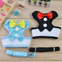 Bowtie Gentleman Suit Pet Dog Harness Vest Tuxedo Puppy Dog Leads Mesh Leash Set para pequenos médios Dog Chest Strap Pet Supplies