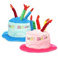 Wholesale Birthday Candle Hat - Wholesale- 2 Colors Birthday Cake Candle Hat Short Plush Children Adult Party Amusement Park Supplies Performing Dress Props Dog Cap