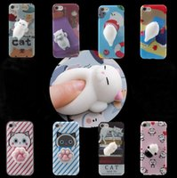 Wholesale Silicone Iphone Solid - Japan 3D Cute Cartoon solid squeezed phone Case Soft Silicone Squishy Cat Cover For iphone 6 6s 7 7 plus goophone i7 plus