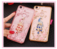 Wholesale Iphone Peacock - Luxury Bling Peacock Diamond Holder Phone Case Crystal Flexible TPU Cover for Iphone 6 6s 6 plus with Kickstand