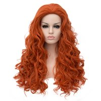 Wholesale Wig Orange Curly Long - Womens wigs synthetic hair heat resistant synthetic wigs curly wig long brown orange wig 70 cm ladies daily