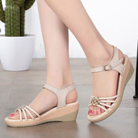 Wholesale Sexy Wedges Shoes - 2017 Genuine leather wedge rhinestone sandals spring summer women's diamond sandals sexy open toe shoes plus size 35-43