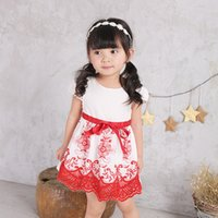 Wholesale Silk Ribbon Dance - Girl 2017 summer embroidered dress, baby short sleeve skirt Strapes Dress Comfortable Princess Party Dancing Dressy Girl Dresses w1706