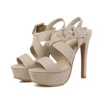Wholesale Stiletto Heel Size 44 - Sandals Flock Shoes Woman's Big 42 43 44 45 46 47 Small shoes 31 32 33 high heel 13CM Platform 3CM EUR Size 30-48