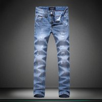 spider and the fly - NEW TOP QUALITY MEN RIPPED COPPERY SPIDER AND WHITE BAT ON THE BACK LIGHT BLUE JEANS PENCIL PANTS PP8066 SIZE