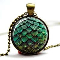 ingrosso collana della cupola-10pcs / lot Game of thrones collana del pendente della cupola di vetro del cabochon dell'uovo del drago verde
