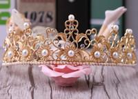 Wholesale Star Headdress - Wholesale high quality large gold crown pearl ornaments retro Baroque bride wedding dress wedding headdress Rhinestone accessories free ship