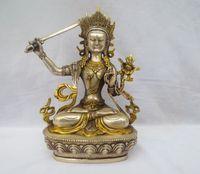 cuchillo de plata antiguo al por mayor-Antigüedades antiguas Coleccionables Decorado Old Handwork 8.5InchTibet Plata tallada Gold gilt Knife Estatua de Buda / escultura budista