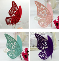 Wholesale glass wedding decorations - Laser Cut Cute Hollow Butterfly Paper Place Card Escort Card Cup Card Wine Glass Cards Paper carve name and date for Wedding Decorations