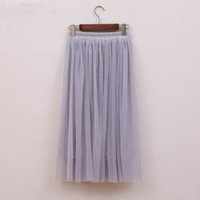 Wholesale Jupe Tutu Femme - Tulle Skirts Womens Summer Fashion High Waist Long Skirt Elastic Waist Sun Fluffy Tutu Skirt Jupe Longue Femme