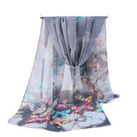 Wholesale Wholesale Butterfly Chiffon Scarves - Cheap Wholesale Silk Chiffon Scarf Women Long Scarves 2017 New Butterfly Animal Printe Sarong Wrap Beach Cover 160*50cm DHL Free