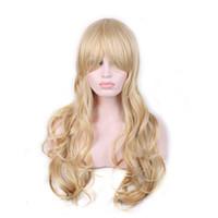 boa qualidade perucas venda por atacado-WoodFestival longo loira encaracolado perucas naturais barato peruca de cabelo loiro fibra sintética perucas com franja de boa qualidade