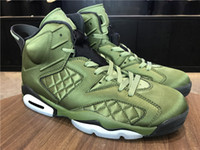 Wholesale Men Cow Leather Jacket - Wholesale New with box 6 flight Jacket Green olive men Basketball Sports Sneakers best quality WITH BOX size 8-13