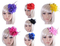 Wholesale Top Hat Clip 13cm - Free Ship 24pcs 13CM Felt Mini Top Hat Feather Hat Cap Hair Clip Hen Party Lady Veil Popular Wedding homburg millinery Bridal Accessories