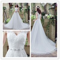 Wholesale Size Models Catwalk - 2017 Plus size Beads Straps Lace Bridal Dresses Back Button Women Wedding Catwalk Rhinestones A line Sexy Sweetheart Chiffion Gowns 30267