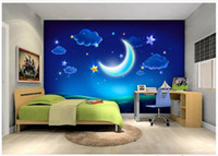 Wholesale Dreams Chinese - 3D photo wallpaper custom wall murals wallpaper mural fashion Cartoon dream moon stars tv background wall paper murals home decoration
