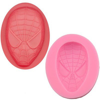 Wholesale Decorating Masks - Spiderman Mask Silicone Fondant Cake Mold Soap Mold Chocolate Candy Mould Moulds DIY Decorating Baking Pink Kitchen Tools