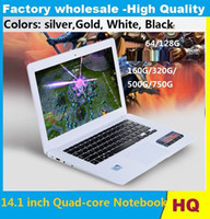 14,1 polegadas ultrabook slim laptops Itel Celeron J1900 Quad-core de 8GB 750GB WIFI portátil notebook prata Golden White preto