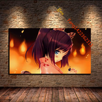"Wholesale Classical Clothing For Women - "" Blue Eyes Blushing Brunette Fire Japanese Clothes Women"" Premium Art Print. HD Canvas Prints Wall Art for Home Decor(Unframed)"