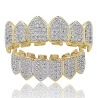 Wholesale halloween teeth sets for sale - Group buy Hip Hop Iced Out CZ Mouth Teeth Grillz Caps Top Bottom Grill Set Men Women Vampire Grills