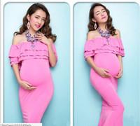 Wholesale Anti Radiation Maternity - New Maternity Maxi dresses Maternity Photography Props Chiffon Dresses Off Shoulders Maxi Pregnant Dresses Pregnancy Photo Shoot