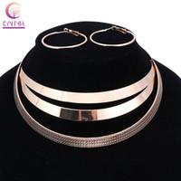 Wholesale Bib Bracelets - Trendy Arc Hollow Metal Big Torque Neck Bib Choker Necklaces Women Indian Jewelry Collar Maxi Statement Necklace