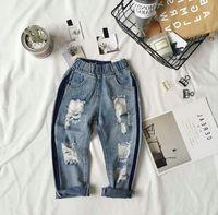 Wholesale Hole Jeans Kids - 2017 Autumn Baby Girls Jeans Kids Hole Design Denim Pants Children Jeans Trousers Pants 13363
