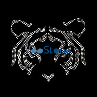 Wholesale Wholesale Iron Rhinestone Appliques - Sale Applique Strass Head Tiger Iron On Rhinestone Transfer Hotfix Motif For Garments