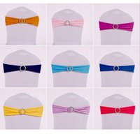 Wholesale Chair Tie Bands - Chair Covers Sashes Band Elastic Covering Free Coverings Bow Bowknot Round Buckle Fashion Tie Bands Belt