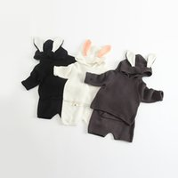 Wholesale Knitted Tutu Tops - baby clothes boutique Infant Outfits Cartoon Rabbit Toddler Clothing Sets Autumn Bunny Hooded Tops + Knit Shorts Casual 2pcs Suits C1754