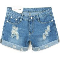 Wholesale Women Jeans Size 36 - Wholesale- Foreign trade original single large size Lady denim shorts fashion loose Women Hole bead Blue Women Short Jeans 26-36 Z1939