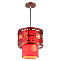 Wholesale Chinese Traditional Lamp - Chinese Style Wooden Teahouse Pendant Lamp Vintage Classic Dining Room Pendant Light Balcony Corridor Pendant Lights